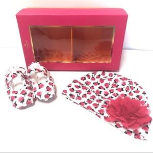 Kate Spade floral baby hat and shoes gift set